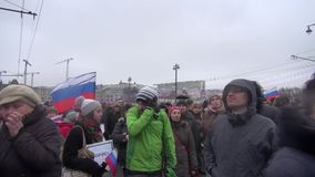 Funeral Russian flags with black ribbon on the March to the memory of Boris Nemtsov stock video footage