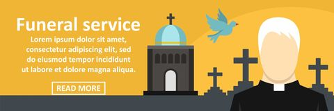 Funeral service banner horizontal concept. Flat illustration of funeral service banner horizontal vector concept for web Royalty Free Stock Photography