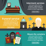 Funeral service banner horizontal set, flat style Royalty Free Stock Image