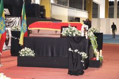 Funeral service of Former Ethiopian President Dr. Negasso Gidada royalty free stock image