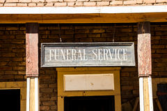 Funeral Service. Vintage Funeral Service cartel made of wood. Good for concepts Royalty Free Stock Photo