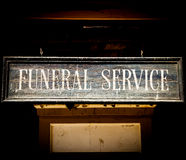 Funeral Service. Vintage Funeral Service cartel made of wood. Good for concepts Royalty Free Stock Image