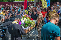 Funeral service of warrior Stock Images