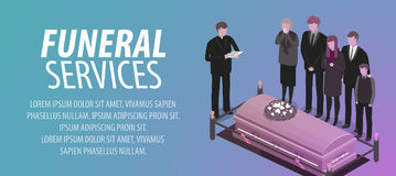 Funeral services banner. Burial, cemetery, graveyard, rip, death concept. Vector illustration Royalty Free Stock Photo