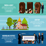 Funeral Services Flat Banner Set. Three horizontal funeral services flat banner set with funeral agency cemetery descriptions vector illustration Royalty Free Stock Photo