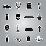 Funeral stickers set eps10 Stock Images