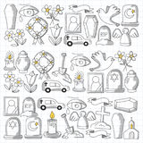 Funeral thin line icon. Set of funeral objects Doodle vector icons RIP Royalty Free Stock Photos