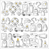 Funeral thin line icon. Set of funeral objects Doodle vector icons RIP Royalty Free Stock Photo