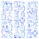 Funeral thin line icon. Set of funeral objects Doodle vector icons RIP. Funeral thin line icon. Set of funeral object royalty free illustration