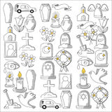 Funeral thin line icon. Set of funeral objects Doodle vector icons RIP Stock Photos
