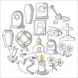 Funeral thin line icon. Set of funeral objects Doodle vector icons RIP Stock Image