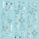 Funeral thin line icon. Set of funeral objects Doodle vector icons RIP Royalty Free Stock Image