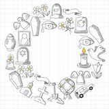 Funeral thin line icon. Set of funeral objects Doodle vector icons RIP Stock Photo