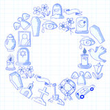 Funeral thin line icon. Set of funeral objects Doodle vector icons RIP Stock Images