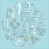 Funeral thin line icon. Set of funeral objects Doodle vector icons RIP Royalty Free Stock Photography