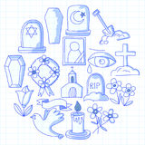 Funeral thin line icon. Set of funeral objects Doodle vector icons RIP Stock Photography