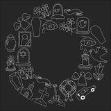 Funeral thin line icon. Set of funeral objects Doodle vector icons RIP. Funeral thin line icon. Set of funeral object Royalty Free Stock Photos