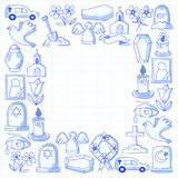 Funeral thin line icon. Set of funeral objects Doodle vector icons RIP Royalty Free Stock Images