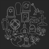 Funeral thin line icon. Set of funeral objects Doodle vector icons RIP. Funeral thin line icon. Set of funeral object Royalty Free Stock Photography