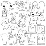 Funeral thin line icon. Set of funeral objects Doodle vector icons RIP. Funeral thin line icon. Set of funeral object Royalty Free Stock Images