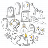 Funeral thin line icon. Set of funeral objects Doodle vector icons RIP. Funeral thin line icon. Set of funeral object stock illustration