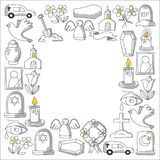 Funeral thin line icon. Set of funeral objects Doodle vector icons RIP. Funeral thin line icon. Set of funeral object vector illustration