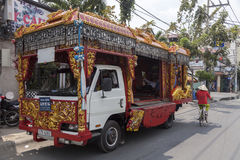 Funeral vehicle. In Vietnam. Vehicle is decorated according to traditional customs Stock Images