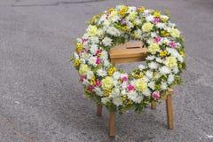 Funeral white wreath Stock Photo