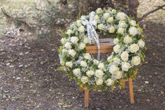 Funeral white wreath Stock Image