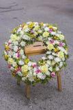 Funeral white wreath Stock Photos