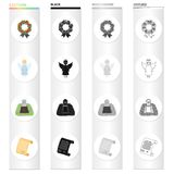 Funeral wreath, angel, grave in the cemetery, testament of the deceased. Funeral Ceremony set collection icons in. Cartoon black monochrome outline style vector Royalty Free Stock Images