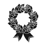 Funeral wreath icon in black style isolated on white background. Funeral ceremony symbol stock vector illustration. Stock Photography