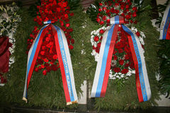 The funeral of Yegor Gaidar, a wreath from the President and the Prime Minister Stock Image