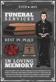 Funerale, agenzia mortuaria di cerimonia di sepoltura illustrazione vettoriale