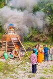 Funerale buddista alla campagna nel Laos immagini stock libere da diritti
