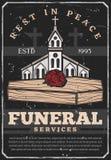 Funerale, sepoltura della bara e chiesa illustrazione di stock