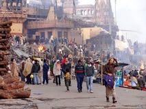 Funerary fires of Varanasi. Royalty Free Stock Photos