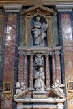 Funerary memorials  in church Gesu e Maria in Rome Royalty Free Stock Photography