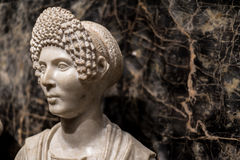 Funerary Portrait of a Woman / Ancient Aristocrat Marble Statue. Statue of a Woman that was a Aristocrat in Alexandria Egypt Royalty Free Stock Image