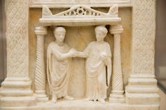 A funerary slab of a married couple is seen in the baths of Diocletian in Rome Stock Images