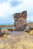 Funerary torens in Sillustani, de voorhistorische ruïnes van Peru, Zuid-Amerika Inca dichtbij Puno stock afbeelding