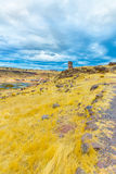 Funerary towers and ruins in Sillustani, Peru,South America- Inca prehistoric ruins near Puno. Titicaca lake area Stock Image