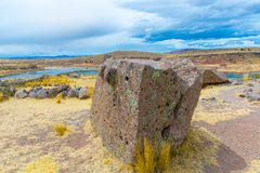 Funerary towers and ruins in Sillustani, Peru,South America- Inca prehistoric ruins near Puno Stock Images