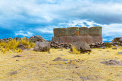 Funerary towers and ruins in Sillustani, Peru,South America- Inca prehistoric ruins near Puno Stock Photography