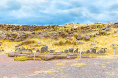 Funerary towers and ruins in Sillustani, Peru,South America- Inca prehistoric ruins near Puno Royalty Free Stock Photography