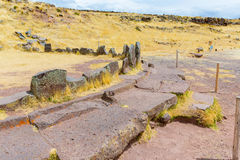Funerary towers and ruins in Sillustani, Peru,South America- Inca prehistoric ruins near Puno Royalty Free Stock Images