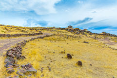 Funerary towers and ruins in Sillustani, Peru,South America- Inca prehistoric ruins near Puno Royalty Free Stock Photos