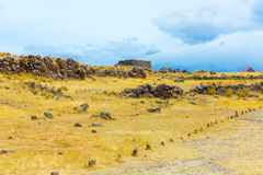 Funerary towers and ruins in Sillustani, Peru,South America- Inca prehistoric ruins near Puno. Titicaca lake area Stock Photography