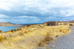 Funerary towers in Sillustani, Peru,South America- Inca prehistoric ruins near Puno,Titicaca Royalty Free Stock Photography
