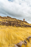 Funerary towers in Sillustani, Peru,South America- Inca prehistoric ruins near Puno,Titicaca area. Stock Images